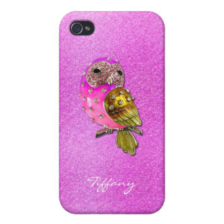 Bezauberndes Rosa und Gold Bejeweled Eule iPhone 4 Case