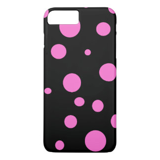 Bezauberndes Schwarzes mit rosa Polka-Punkte iPhone 7 Plus Hülle