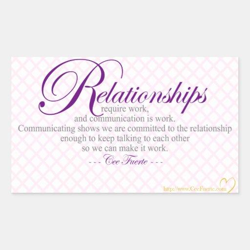 Beziehungen und Kommunikation Rechtecksticker