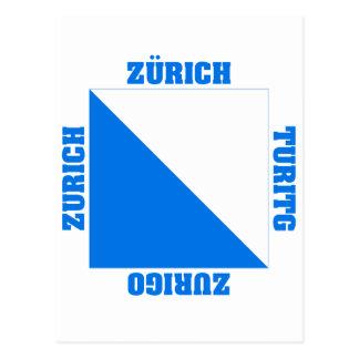Bezirk-Flagge Zürichs die Schweiz Postkarte
