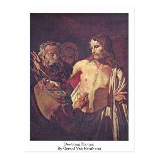Bezweifeln von Thomas durch Gerard Van Honthorst Postkarte