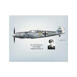 BF-109G Franz Stigler Profil Leinwanddruck