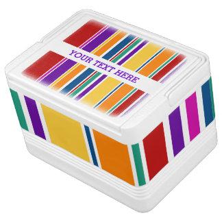 BG-Streifen-Muster färbte IX + Ihr Text Kühlbox