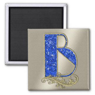 BGMB blaues Monogramm B Quadratischer Magnet