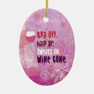 BH weg, Haar oben, schwitzt an, der gegangene Wein Keramik Ornament