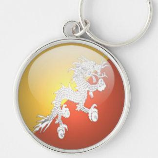 Bhutan - erstklassiges rundes Keychain Silberfarbener Runder Schlüsselanhänger