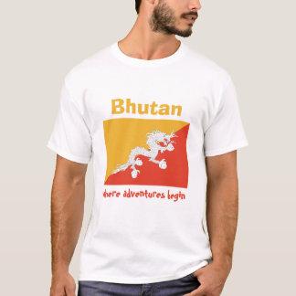 Bhutan-Flagge + Karte + Text-T - Shirt