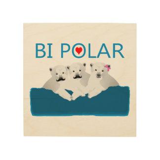 Bi-Eisbären Holzleinwand