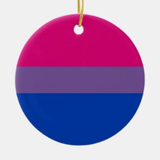 Bi-Flagge fliegt für bisexuellen Stolz Rundes Keramik Ornament