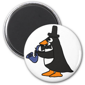 BI lustiger Pinguin, der den Saxophon-Magneten spi Kühlschrankmagnet