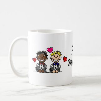 Bi-Rassische Homosexuell-Bräutigame Kaffeetasse