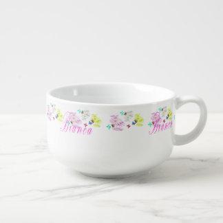 Bianca Logo mit Kätzchen-Schmetterlings-Blumen, Große Suppentasse