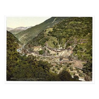 Biaschina, Schleifen in der Straße, Eisenbahn St. Postkarte