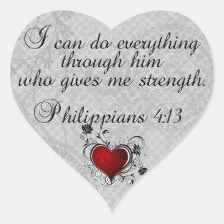 Bibel-christliches Versphilippians-4:13 Herz-Aufkleber