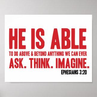 Bibel-Plakat Ephesians 3:20 ist er - christlich in Poster