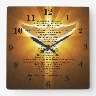 Bibel-Schrift König-James Version Psalm 23 Quadratische Wanduhr