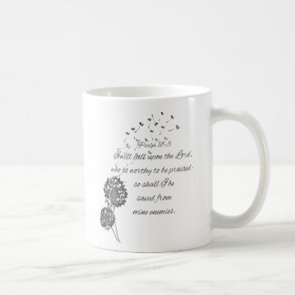 Bibel-Vers des Psalm-18 fordern den Lord Dandelion Kaffeetasse
