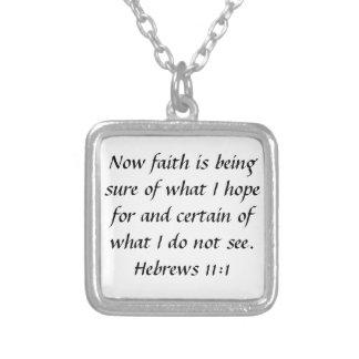 Bibel-Vers Hebräer-11:1-Ermutigungshalskette Versilberte Kette