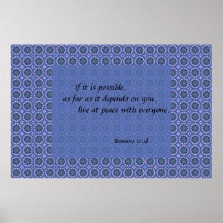 Bibel-Vers-hübsches blaues Blumenmuster Poster