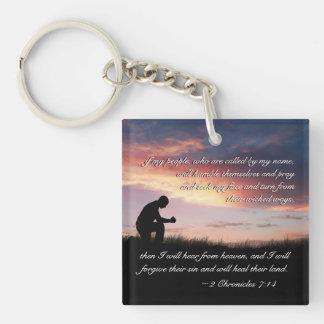 Bibel-Vers-Mann 7:14 mit 2 Chroniken, der knit, um Schlüsselanhänger