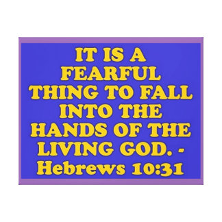 Bibel-Vers vom Hebräer-10:31. Leinwanddruck