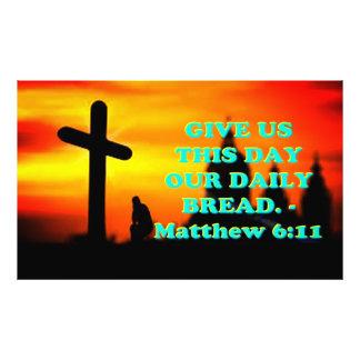 Bibel-Vers von Matthew 6: 11. Fotodruck