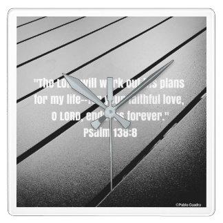 Bibel-Vers von Psalm 138 Quadratische Wanduhr