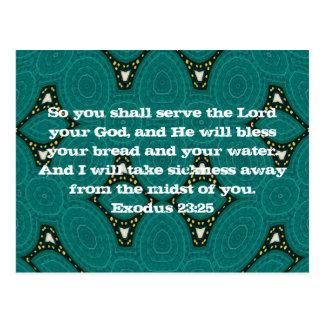 Bibel-Verse die Schrifts-Zitat-Exodus-23 25 heile Postkarte