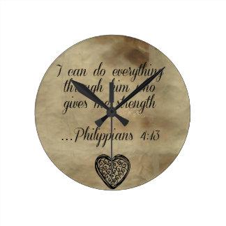Bibel-Versphilippians-4:13 Runde Wanduhr