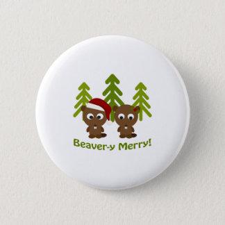 Biber-y fröhlich! Weihnachtsbiber Runder Button 5,7 Cm
