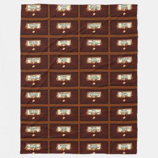 Bibliothek bucht das hölzerne Kartei-Fach-Ablesen Fleecedecke