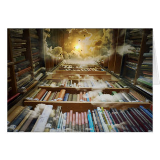 Bibliothek im Himmel Grußkarte