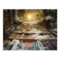 Bibliothek im Himmel Postkarten