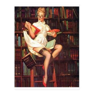 Bibliothekar-Button oben Postkarte