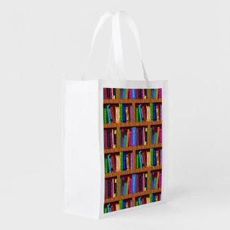 Bibliotheks-Buch-Regal-Muster für Bücherwurm-Leser Wiederverwendbare Einkaufstasche