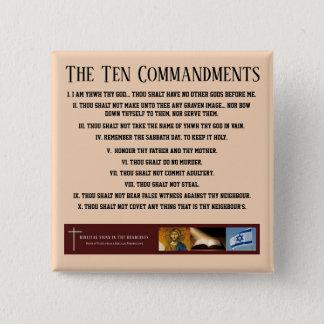 """Biblische Zeichen ITH """"zehn Gebot-"""" Knopf Quadratischer Button 5,1 Cm"""