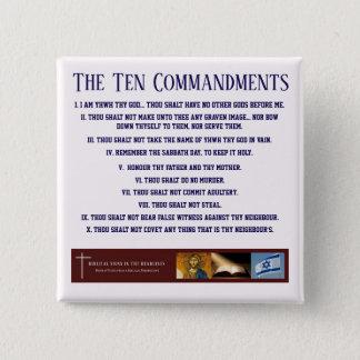 """Biblische Zeichen """"zehn Gebot-"""" Knopf (BLAU) Quadratischer Button 5,1 Cm"""