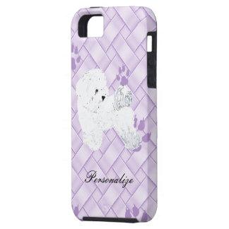 Bichon Frise auf Lavendel-Webart w/pawprints Tough iPhone 5 Hülle