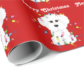 Bichon Frise beleuchtet WeihnachtsPackpapier Geschenkpapier