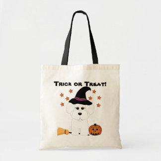 Bichon Frise Hexe-Halloweentrick-oder Tragetasche
