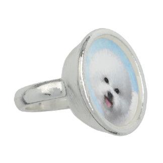 Bichon Frise Malerei - niedliche ursprüngliche Ring