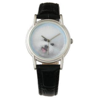 Bichon Frise Malerei - niedliche ursprüngliche Uhr