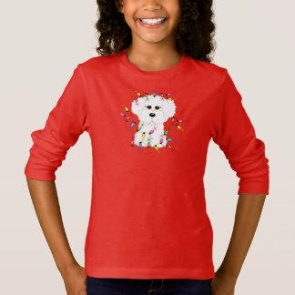 Bichon Frise mit Weihnachtslichtern T-Shirt