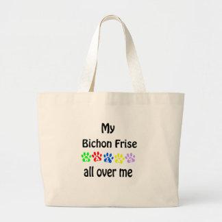 Bichon Frise Weg-Entwurf Jumbo Stoffbeutel