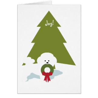 Bichon Frise Weihnachtskarte - Freude! Karte