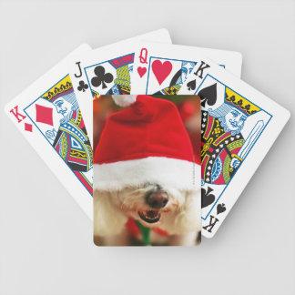 Bichon Frise Welpe, der Sankt-Kostüm trägt Bicycle Spielkarten