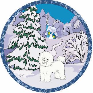 bichon frise Winter Foto Figuren