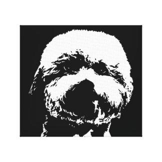 Bichon schwarzer Frise u. Weiß wickelte Leinwanddruck