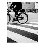 Bicycle on cross walk postkarte