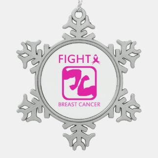 Biegen der Arme, um Brustkrebs zu kämpfen Schneeflocken Zinn-Ornament